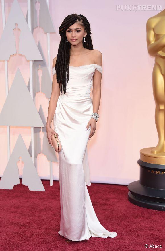 Zendaya lors des Oscars 2015 en robe Vivienne Westwood.