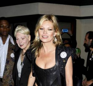 Kate Moss : corset en cuir pour une soirée psychédélique unisexe