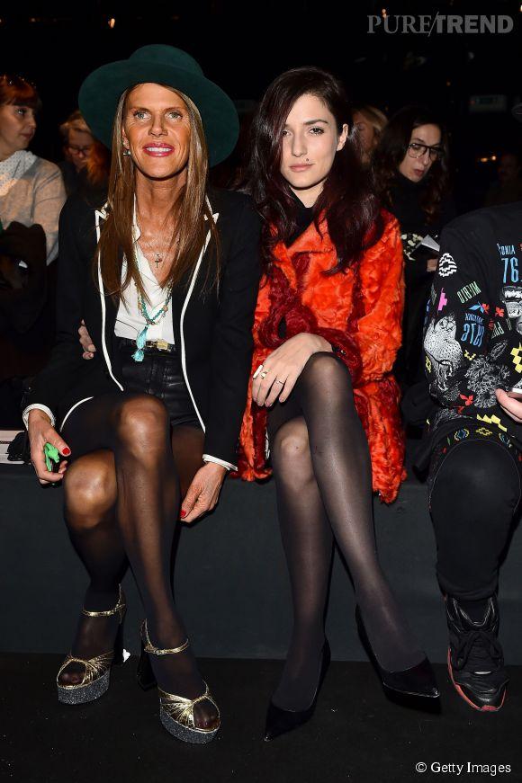 Eleonora Carisi aux côtés de la consultante mode italienne la plus déjantée de la Fashion Week : Anna Dello Russo.
