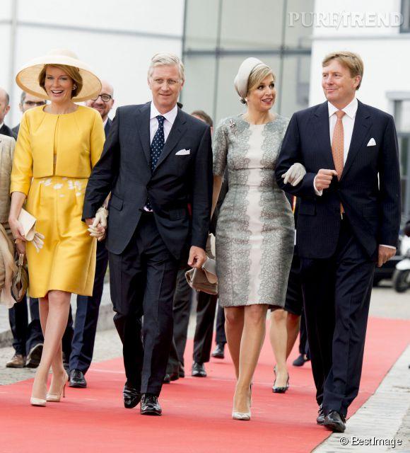 Ensemble jaune et chapeau pour Mathilde, dentelle et bibi pour Maxima.