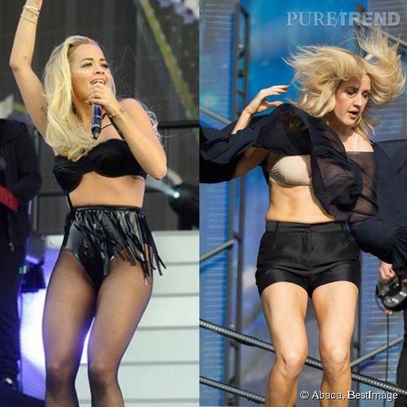 Rita Ora et Ellie Goulding finissent en soutien-gorge lors de leurs shows aux Wireless et British Summer Time Festivals en Angleterre.
