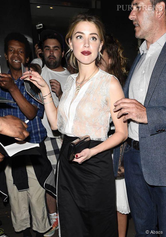 Amber Heard à la sortie d'un restaurant à Londres le 29 juin 2015.