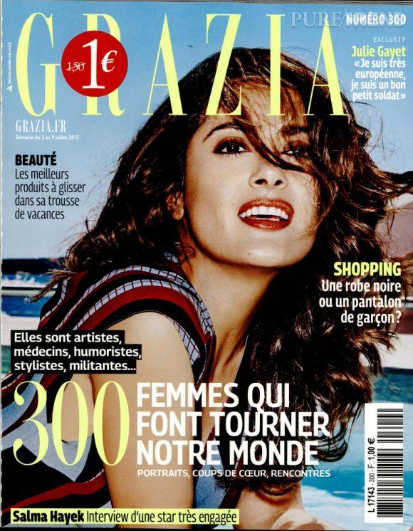 Salma Hayek en couverture du magazine Grazia de cette semaine.