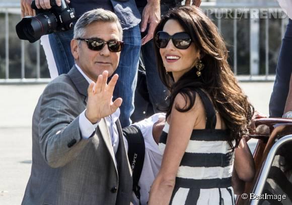George et Amal Clooney, rayonnants à leur arrivée à Venise il y a un an.