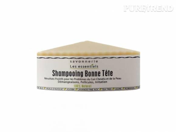 Shampoing solide Bonne Tête (13,20 €), pour les cuirs chevelus sensibles ou sujets aux pellicules.