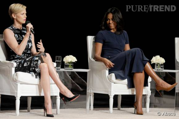 Charlize Theron et Michelle Obama lors de la conférence Let Girls Learn Global Conversation à New York le 29 septembre 2015.