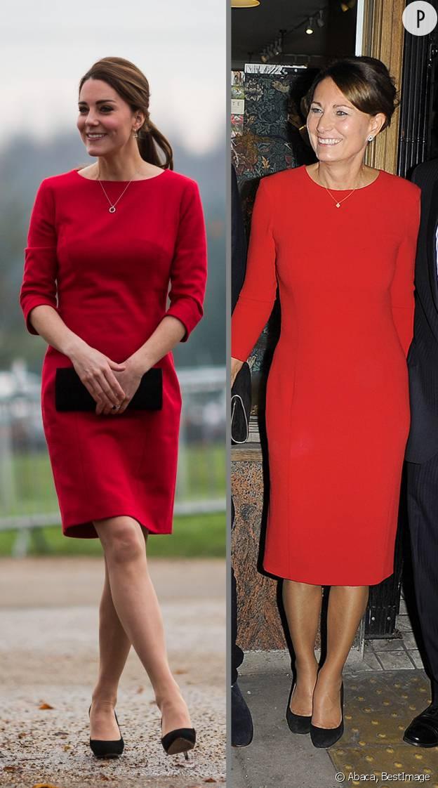 Kate et Carole Middleton, toutes de rouge vêtues.