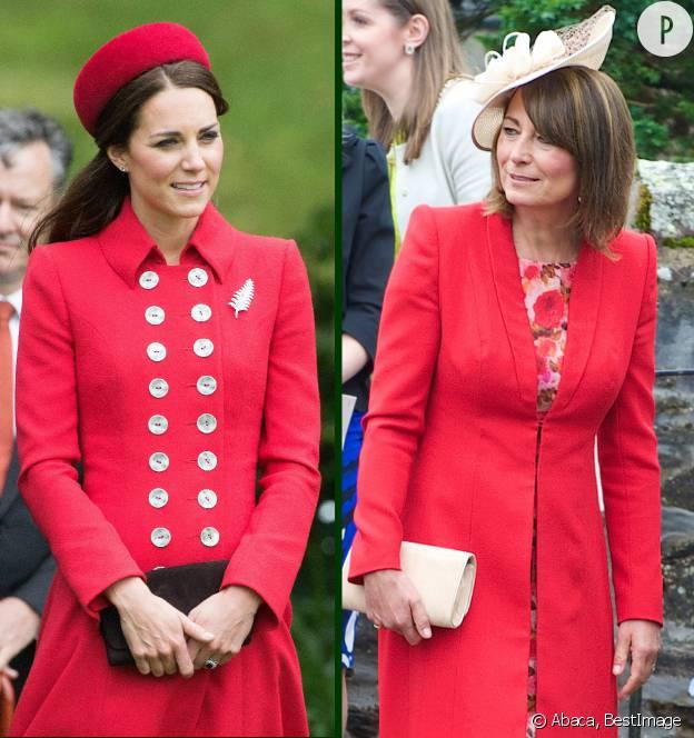 Kate Middleton et sa mère Carole affectionnent les manteaux d'un rouge vif.
