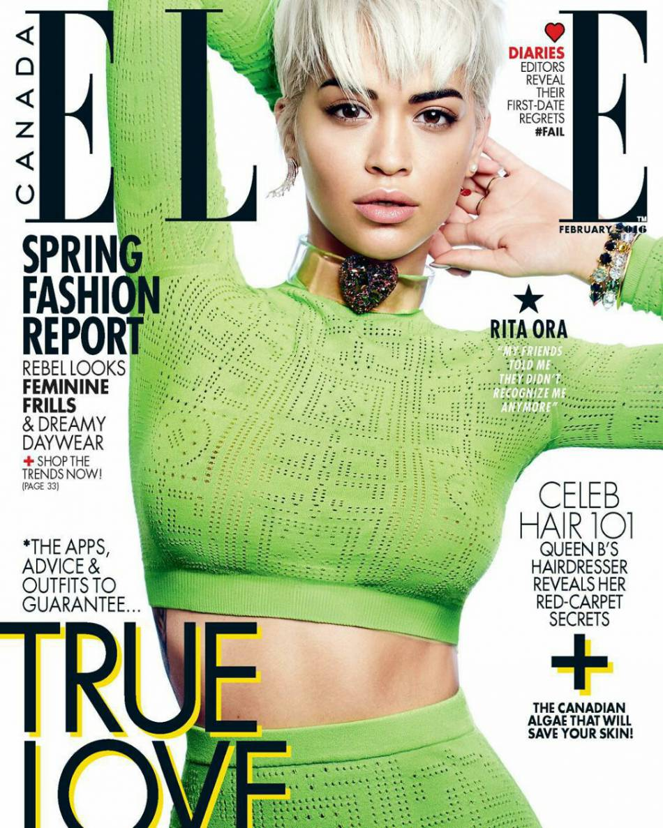 Rita Ora s'invite sur la couverture du numéro de février 2016 du  ELLE  Canada.