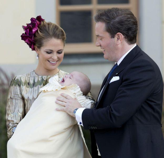 Madeleine de Suède et son mari, le jour du baptême du prince Nicolas, le 11 octobre 2015.