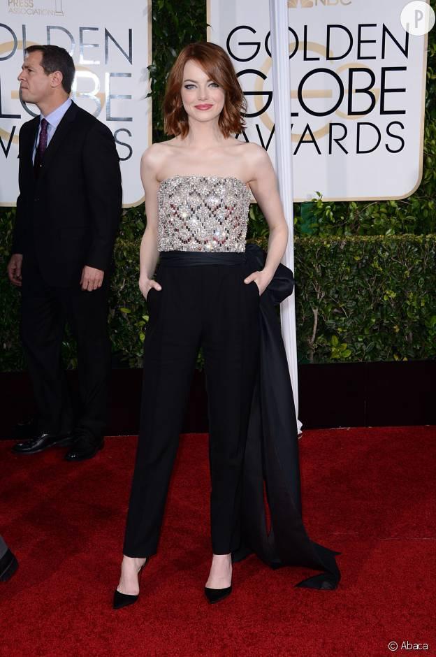 Emma Stone en combinaison Lanvin aux Golden Globes 2015.