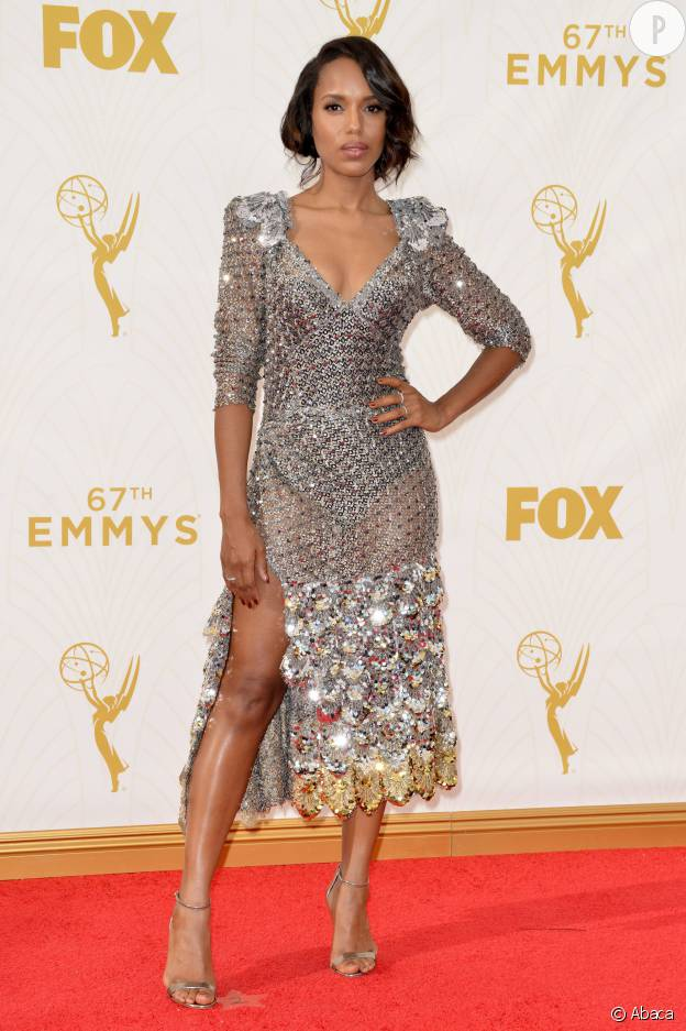 Kerry Washington en robe Marc Jacobs lors de Emmy Awards 2015.