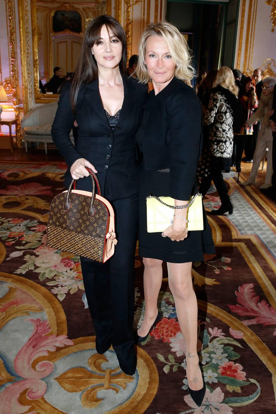 """Estelle Lefébure et Monica Bellucci à l'""""International Women's Day Luncheon in Support of Equality and Safety for All"""" organisé en marge de la Fashion Week de Paris le 3 mars 2016."""