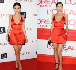 Selena Gomez vs Irina Shayk : la micro robe rouge sexy Christian Dior