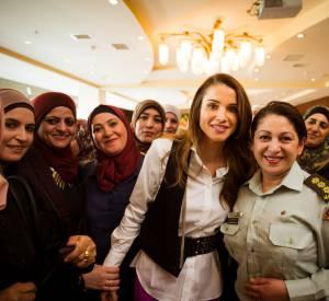 Rania de Jordanie, mardi 8 mars, à l'International Women's Forum, à Amman.
