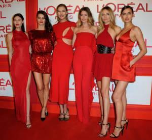 Irina avec ses copines égéries l'Oreal Paris à la soirée Red Obsession.