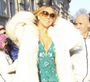 Mariah Carey fait sa diva en robe de soirée et fourrure à Londres !