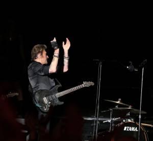 Johnny et David Hallyday : ensemble sur scène, le père et le fils affichent leur amour du rock.