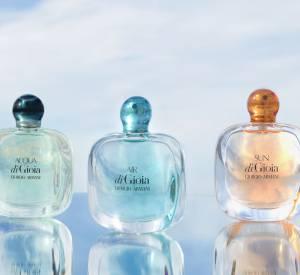 Armani a créé deux déclinaisons estivales et pleines de fraicheur à son parfum Acqua di Gioia :découvrezSun di Gioia et Air di Gioia.