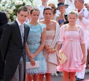 Louis Ducruet, Pauline Ducruet, Stéphanie de Monaco et son autre fille Camille Gottlieb au mariage d'Albert et Charlène.