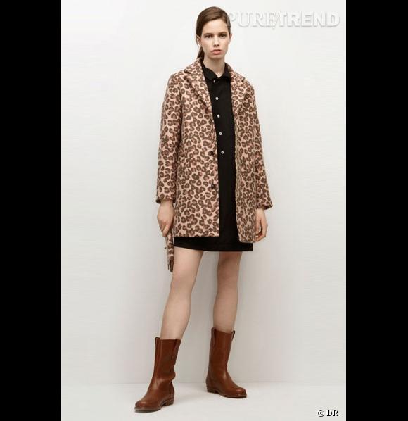 Où ça :  Chez  APC     Pourquoi on le veut :  Parce que c'est un parfait compromis entre le trench et un manteau léopard. Sa couleur camel un peu passée lui donne un côté diablement rétro.    Prix :  420€
