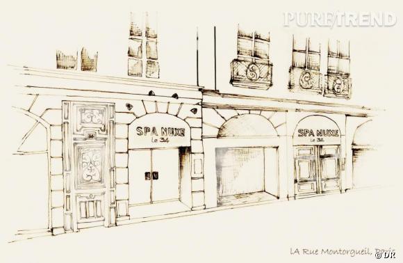 Croquis des façades des Spa Nuxe rue Montorgueil à Paris