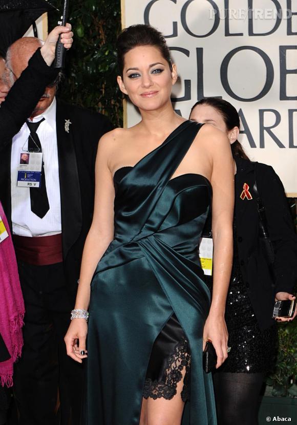 Marion Cotillard lors des Golden Globes le 17 janvier 2010