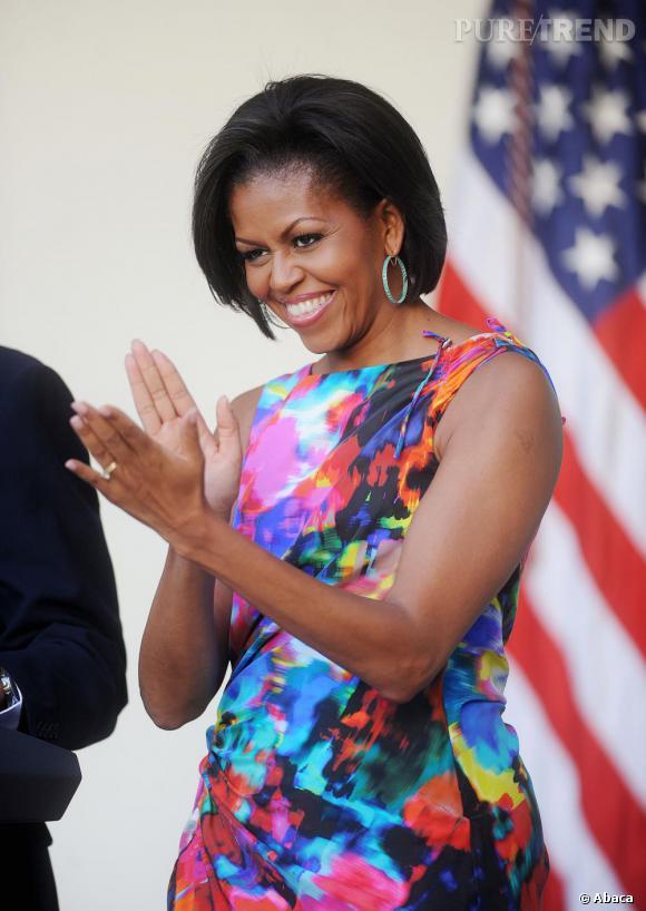 Michelle Obama radieuse à la garden party de la Maison Blanche à l'occasion de la fête nationale mexicaine, Cinco de Mayo.