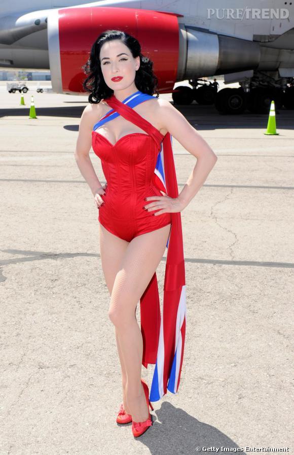 Dita von Teese, sublime dégaine le body lors des dix ans de vols vers Las Vegas de Virgin Atlantic