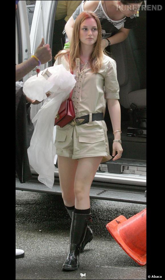 Leighton Meester, un look trendy sur le tournage de Gossip Girl.