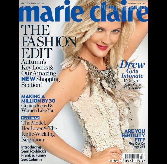 Drew Barrymore en Valentino sur la couverture de Marie Claire UK.