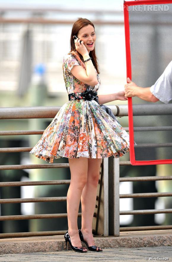 Leighton Meester sur le tournage de Gossip Girl.