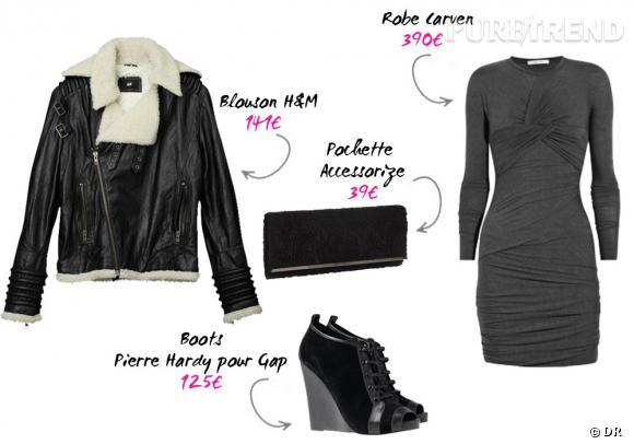 Blouson H&M, pochette Accessorize, robe Carven sur Net-a-porter, boots Pierre Hardy pour Gap.