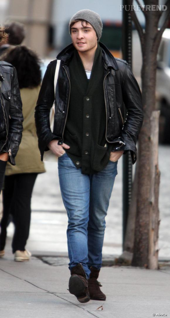 Ed Westwick dans les rues de New York.