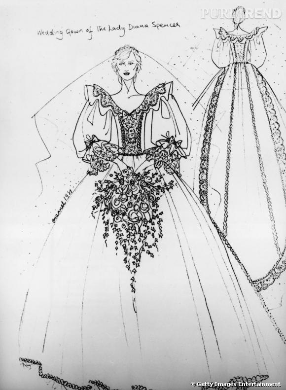 Croquis de la robe de Diana Spencer imaginée par Elizabeth Emanuel.     Un des créateurs favoris des Anglais, Elizabeth Emanuel avait dessiné la robe meringue de Lady Di. Un choix plausible que l'on déconseille quand même, si Kate veut en finir avec les comparaisons. Et pas sûr que l'oedipe de William soit résolu...