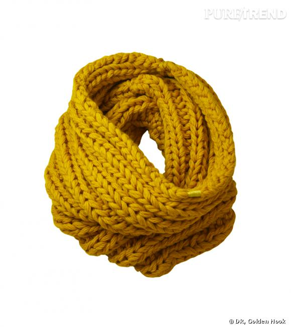 Snood mérinos : 65 euros sur www.goldenhook.fr.