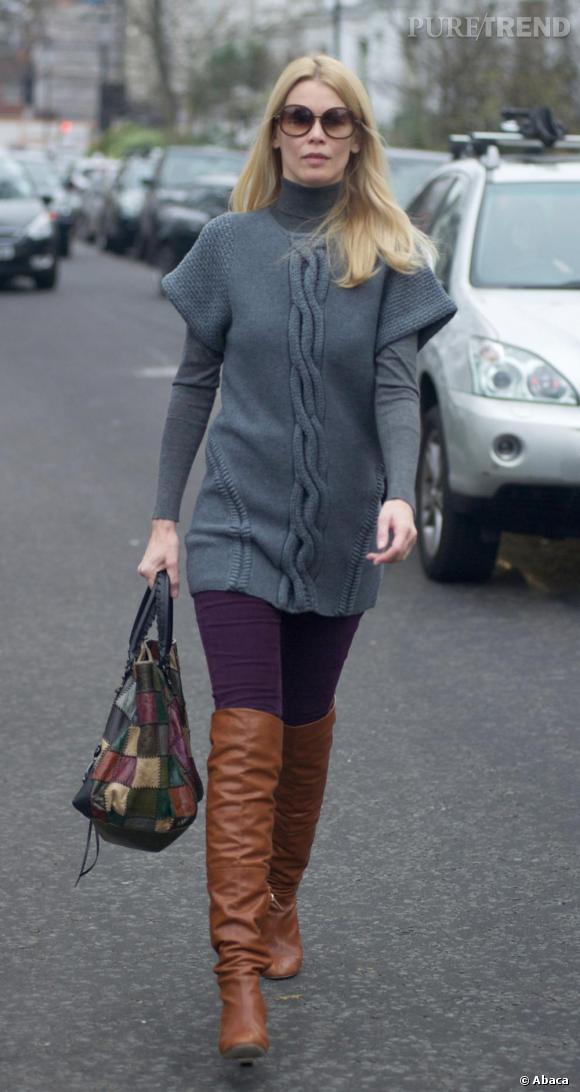 Cuissardes camel pantalon violet pull gris et sac for Que porter avec du gris