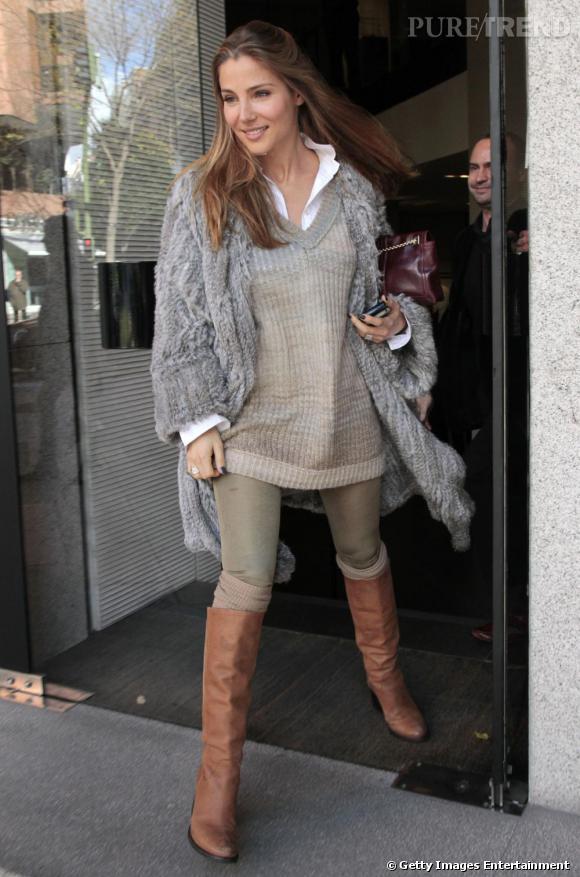 Elsa Pataky son parfait look d'hiver à Madrid.