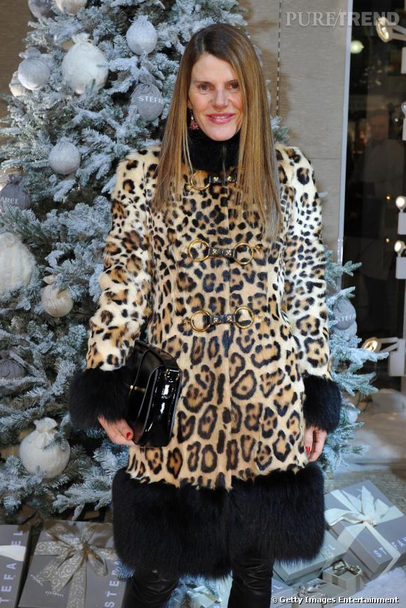 Anna Dello Russo lors de la soirée White Christmas organisée par Stefanel à Milan.