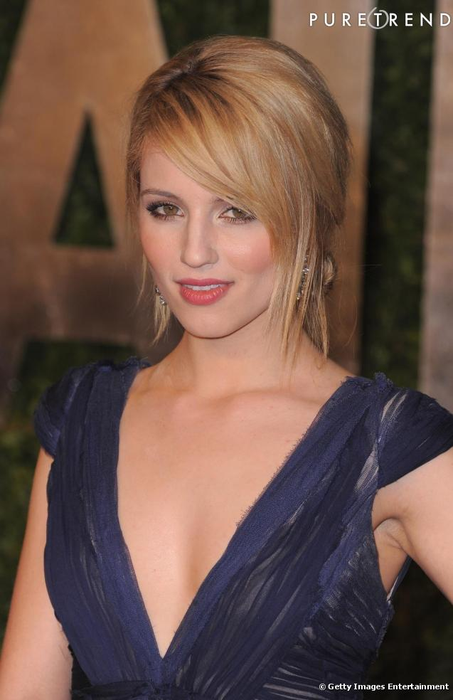 chignon bas et m che sur le c t pour dianna agron qui. Black Bedroom Furniture Sets. Home Design Ideas