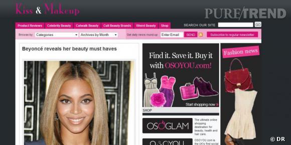 """Nom  :  kissandmakeup.tv     Ce qu'on aime  : l'information triée et les différentes rubriques, """"product reviews"""", """"celebrity beauty"""", """"catwalk beauty"""" et leurs autres blogs proposés en lien sur la mode, les chaussures..."""