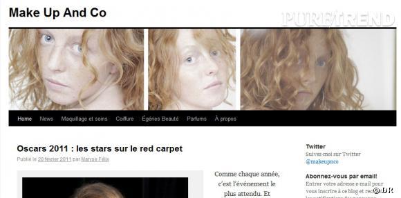 Le nom  :  makeupandco.com     Ce qu'on aime  : les articles sont complets et bien répartis selon des catégories distinctes (news, égéries, parfums).   Le moins  : pas d'articles depuis le 28 février 2011.