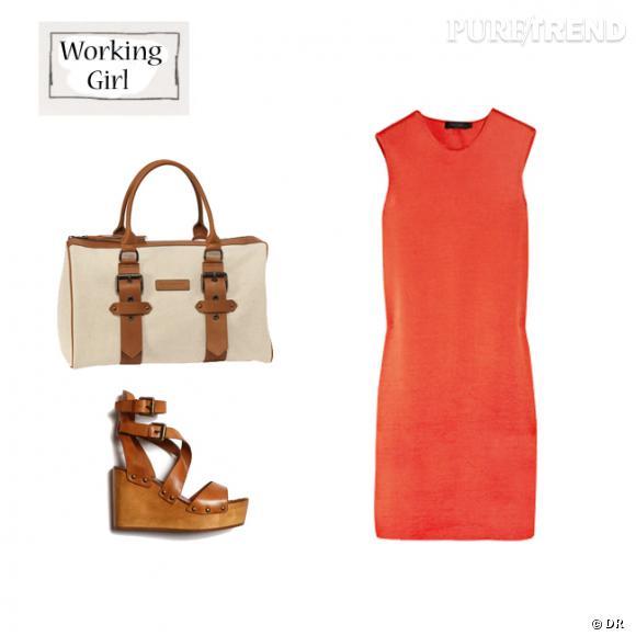 Robe Calvin Klein sur www.net-a-porter.com (1840€), sac Kate Moss pour Longchamp (440€), sandales compensées Ash aux Galeries Lafayette (180€)