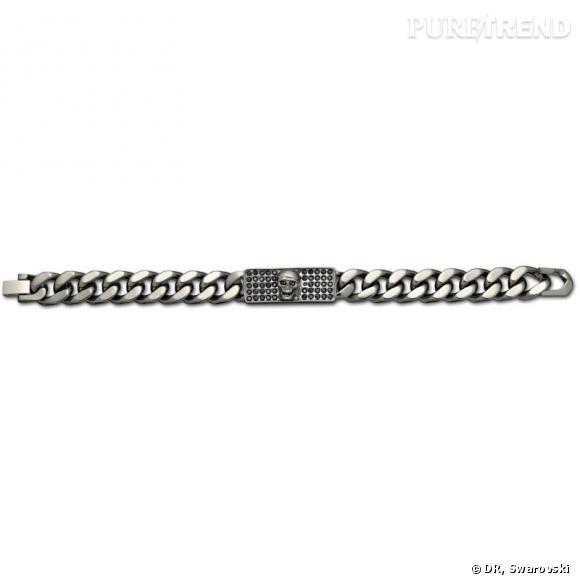 Skulls and Swords, bracelet plaqué ruthenium.