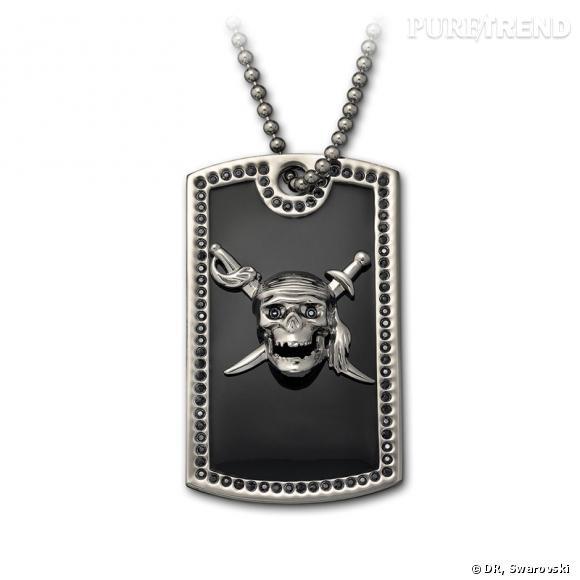 Skulls and Swords, pendentif avec tête-de-mort et épées croisées en cristaux de couleur Jet, appliqués selon la technique du Pointiage®, chaîne en plaqué ruthénium