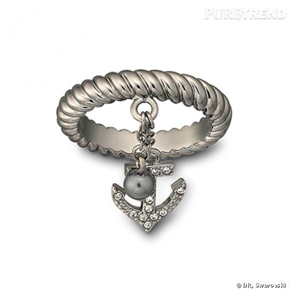 Black Pearl, bague en plaqué ruthénium, corde en cristal pavé.