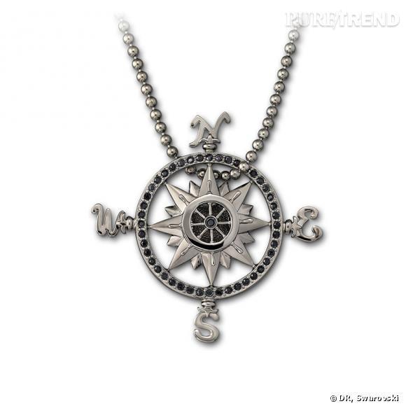 High Sea, pendentif en cristal pavé Jet, chaîne en plaqué ruthénium.
