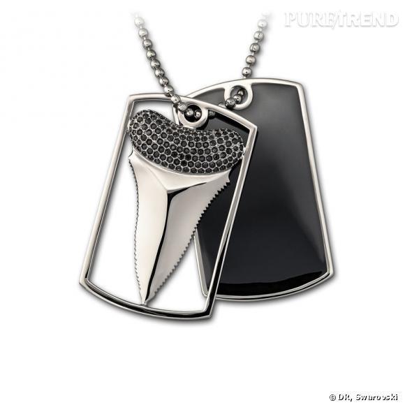 High Sea, pendentif dent de requin en epoxy et cristal Jet appliqué selon la technique exclusive du Pointiage®, chaîne en plaqué ruthenium.