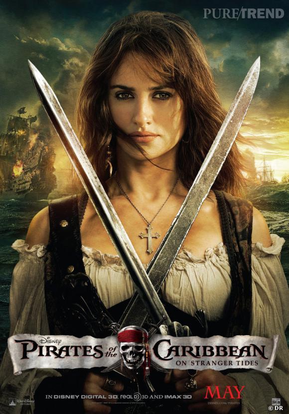 """Penelope Cruz sur l'affiche du film """"Pirates des Caraïbes : La Fontaine de Jouvence""""."""