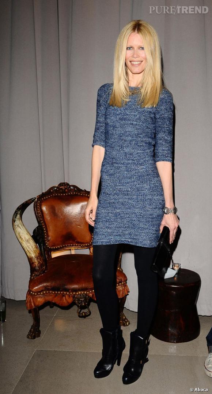 Claudia Schiffer lors de la finale du concours Fashion Fringe à Londres.